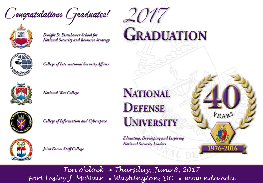 Cover of NDU's 2017 graduation program