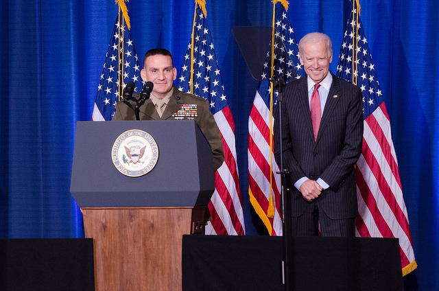 Major General Frederick Padilla and Vice President Joe Biden