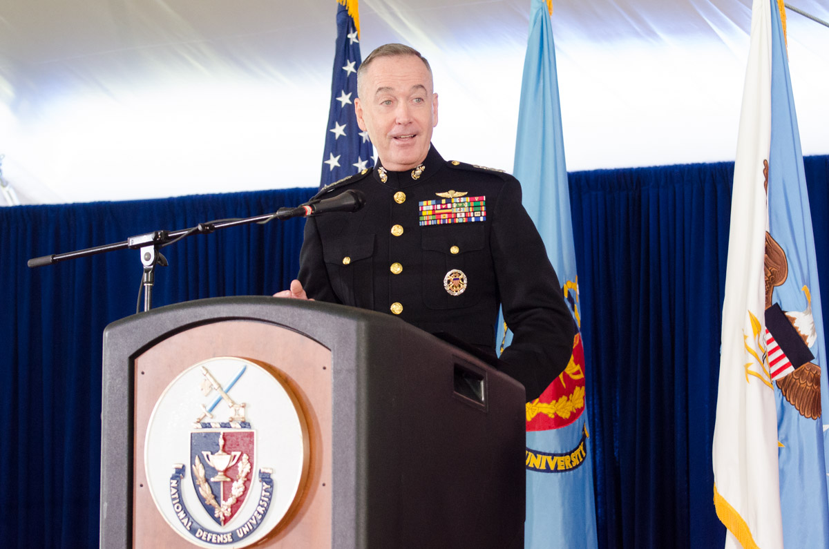 Graduation speaker GEN Joseph Dunford Jr., Chairman of the Joint Chiefs of Staff delivering the 2016 NDU graduation address.